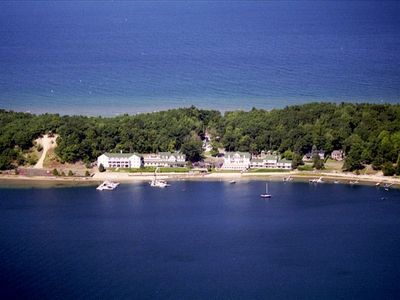 Onekama condo rental - Aereal view of Portage Point Inn. Our condo. is in the building on the right.