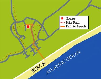 The house is a five minute bike ride / ten minute walk to the beach