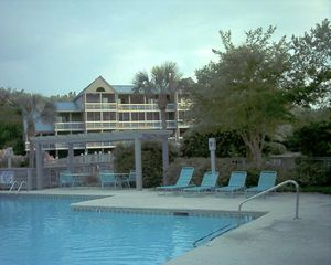 Seabrook Island villa photo - Spacious pool area seconds away with our villa in the background