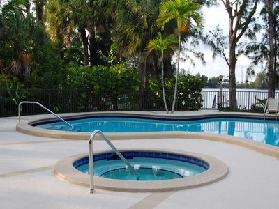 Coral Gables townhome rental - Pool and hot tub just steps away from the back of the townhouse