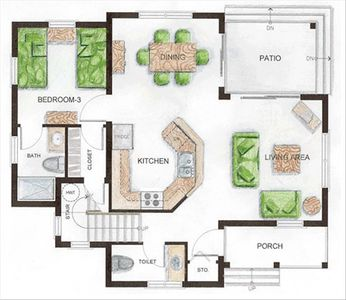 1st Floor Floorplan of our Cayman Vacation Home -  Note bedroom off kitchen area