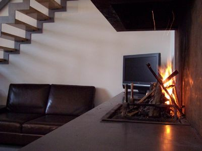 Fireplace, LCD TV and sitting area