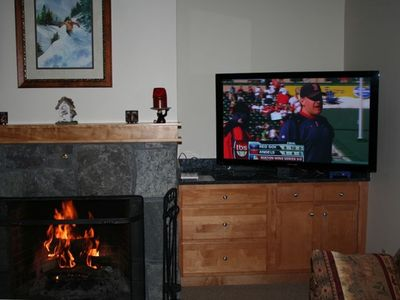 "Watching the Sox on a 50"" plasma while enjoying a fire!"