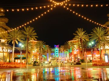 The Destin Commons at Night! Enjoy shopping, eating and moving watching!
