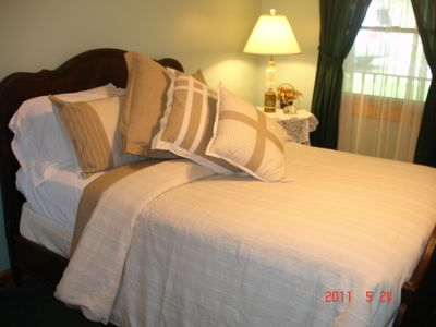 Greenbrier County lodge rental - Bedroom with Plush Comfortable Bedding!