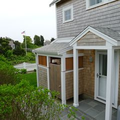 West Yarmouth house photo - The outdoor shower and entrance to the lower floor.