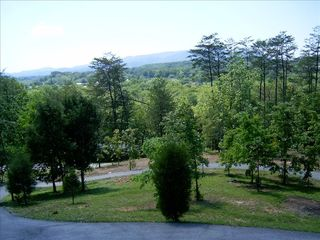 Grass island inside looped driveway - Pigeon Forge cabin vacation rental photo