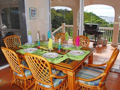 Chocolate Hole villa rental - The indoor dining room is perfect for 6... with a view of the bay, of course!