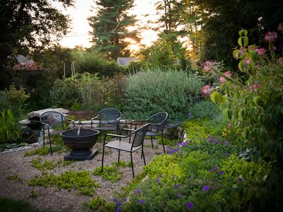 Asheville apartment rental - Fire pit and happy hour spot in back yard
