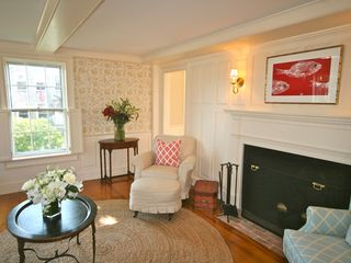Nantucket Town house photo - Living Room with Fireplace