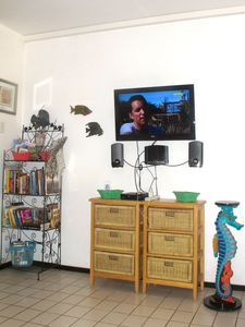 "Entertainment area offers 32"" TV w/USB port, DVD player, Movies, Books & Stereo."