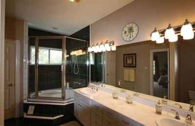 Pamper Yourself In The Shower/Jacuzzi Suite in the Spacious Master Bathroom.
