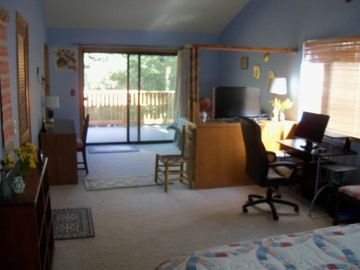 View of Computer Area and Door to Deck from Master Bedroom