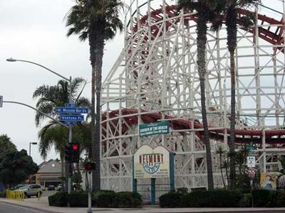 Belmont Park roller coaster, about 10 minute walk south