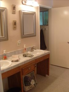 Private Full Bath in Master Suite has double vanity sinks +tons of closet space!