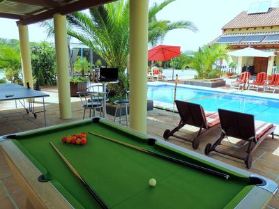 Slate Bed Championship Pool Table, Ping Pong Table Tennis and Water Volleyball