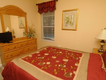 1st Floor Queen Bedroom with Flat Screen TV.