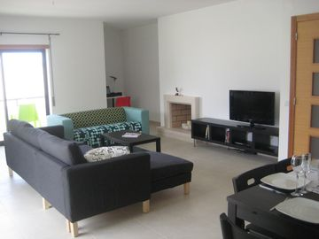 Nazare apartment rental - Huge Living Room with 2 balconies & flat screen TV