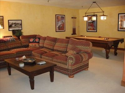 Family Room with Pool Table, Pullout Sleeper Sofa, Flat Screen TV & Game Table