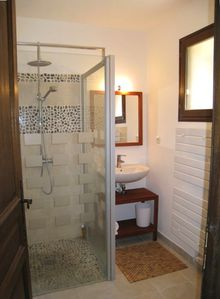 Downstairs Bathroom with overhead Rain Shower