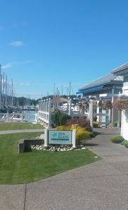 In one direction about 100 meters  is Van Isle Marina and the Sea Glass Bistro.