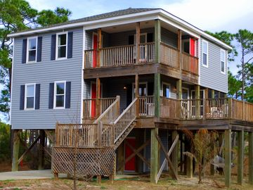Dauphin Island house rental - The Salty Dog. Several decks and porches to enjoy the ocean views.