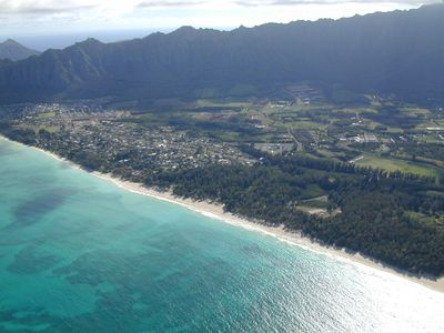Aerial view of the quiet town of Waimanalo and the Beach