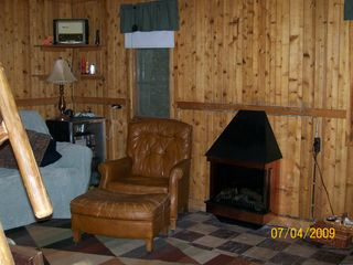 Pentwater cabin photo - Living area with gas fireplace