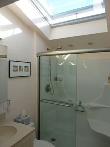 Motorized skylight and shade over the shower, bringing in lots of air and light