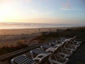 Watsonville house rental - Take in the sunset while lounging on the back deck.