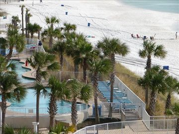 "Our balcony view of Splash's ""Lazy River"" and the beaches to the west"