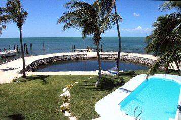 Marathon house rental - View of Tidal Pool, Heated Pool, Dock and Ocean