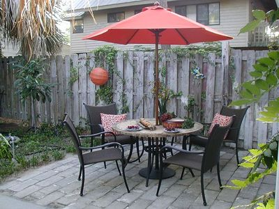 We offer lots of outdoor seating areas in our garden, patios and decks!