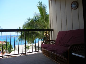 Lanai with a futon for relaxation with a view