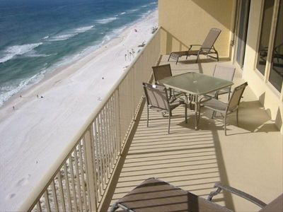 Gulf front 40 foot balcony at Gulf Crest 1503, Panama City Beach, FL.