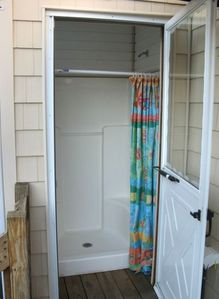 Outside shower off of rear deck