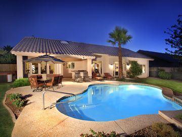 Kierland Scottsdale house rental - Quiet, private backyard has pool, hot tub, BBQ, misters, citrus trees and more