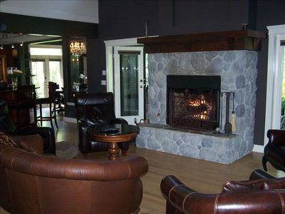 Grand room with wood burning fireplace
