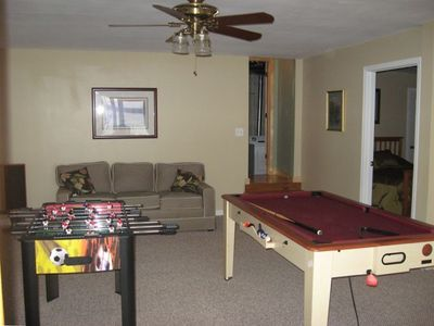 Downstairs Den:pool table/air hocky/ping pong/ foosball / TV/Queen BR on right