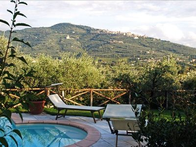 View of Cortona from pool