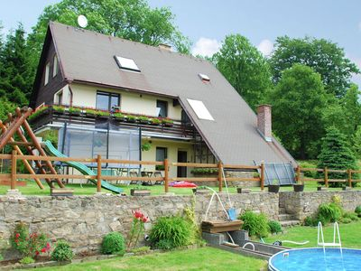 Holiday in hill rich landscape of Cenkovice with private pool