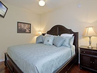 Crystal Beach house photo - Main floor king bedroom with flat screen TV, and I-pod doc