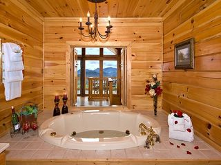 Pigeon Forge cabin photo - jacuzzi with optional view through open shutters