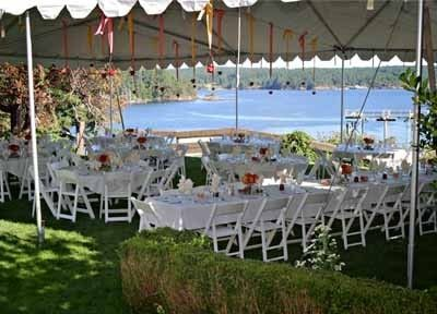 Upper Lawn set for Wedding Reception