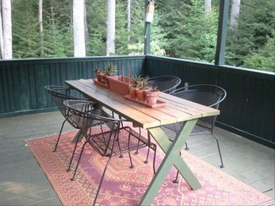 Brunswick chateau / country house rental - Porch dining by the outdoor granite fireplace....