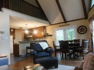 Family room, dining and kitchen with lots of natural light.