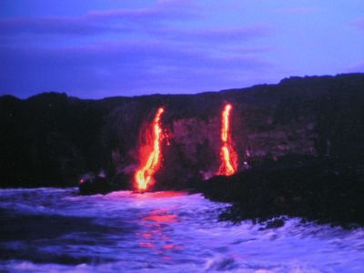 Pele in full show at the Volcano National Park. The view changes daily.
