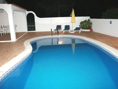 Pool at Night towards BBQ
