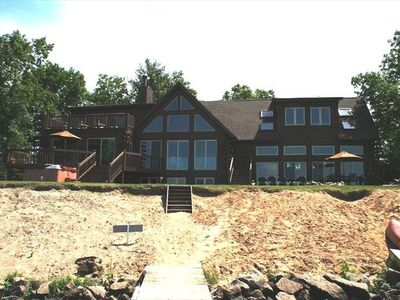 Log cabin on lake min from wis dells vrbo for Cabins in wisconsin dells for rent