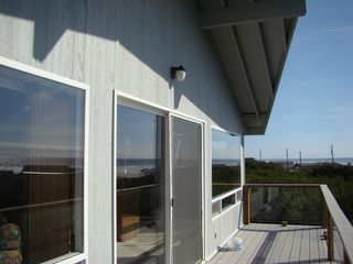 Waldport house photo - Large deck facing the Beach